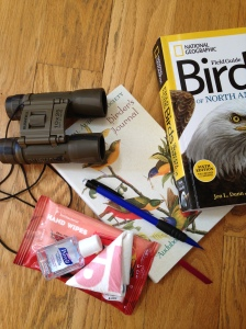 There are the main elements in my birding bag. Bushnell Binoculars, a bird guide book, birding journal, wipes, hand sanitizer, a pencil and a plastic bag for any trash we find.
