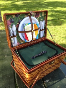 The picnic basket was a wedding gift about 10 years ago. It has held up really well and the bottom part is a cooler!